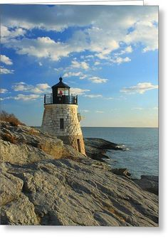 Castle Hill Lighthouse Newport Rhode Island Greeting Card by John Burk