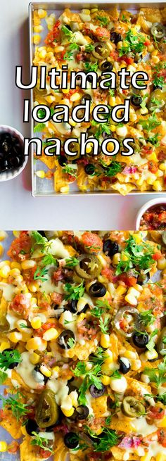 Ultimate Mexican loaded nachos made with home-made red salsa, nacho cheese sauce, corn,olives and jalapeneos How To Make Cheese Sauce, Homemade Cheese Sauce, Nacho Cheese Sauce, Roasted Tomato Salsa, Roasted Tomatoes, How To Make Nachos, Food To Make, Vegetarian Nachos, Vegetarian Recipes