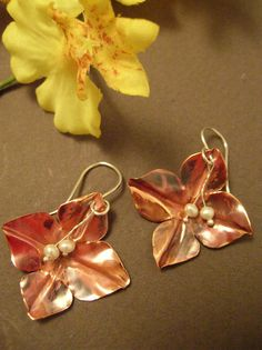 Sweet Copper Flower Earrings with Pearls by LauraGuptillJewelry