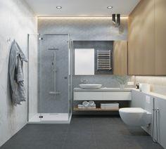 modern interior design, light gray tiles for walls in a bathroom … Modern White Bathroom, White Bathroom Decor, Gray And White Bathroom, Wooden Bathroom, Basement Bathroom, White Bathrooms, Shower Cabin, Amazing Bathrooms, Modern Interior Design