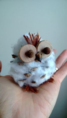 I made this cute little snow owl by using pinecone and cotton. Center of the eyes are made from blackpepppers.