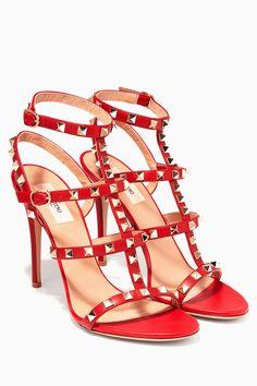 492589f05deb Shop Luxury Valentino Nero Rockstud Leather High-Heel Sandals