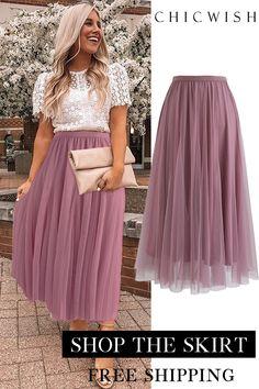 My Secret Weapon Tulle Midi Skirt in Lilac Mode Outfits, Skirt Outfits, Party Skirt, Party Dress, Prom Party, The Dress, Beautiful Dresses, Ideias Fashion, Midi Skirt