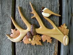 Shed antler with chickadee and morels