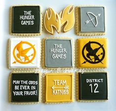 hunger games party - made these, though the ones pictured were cuter.  I'm just not the best at writing in frosting!