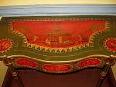 Detail of Card Table Baltimore, c. 1815 Maker: Thomas S. Renshaw (active in Baltimore Painter: John Barnhart (active in Baltimore with polychrome and gilt decoration Painted Chairs, Painted Furniture, Baltimore, Catherine The Great, Georgian Era, Empire Style, Neoclassical, Hope Chest, Chinoiserie