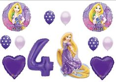 Tangled Rapunzel Disney 4TH BIRTHDAY PARTY Balloons Decorations Supplies Balloon Emporium http://www.amazon.com/dp/B00I55DFRW/ref=cm_sw_r_pi_dp_mYmyub0ZRF9BT