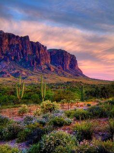 Sunset over Superstition Mountains Arizona