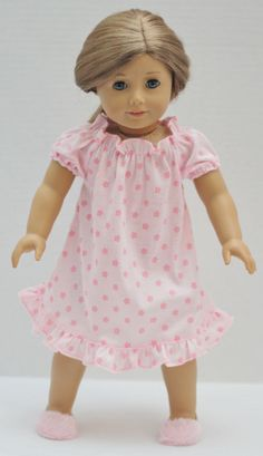 """18"""" Doll Clothes Soft Nightgown Sleepwear Pajamas and Fuzzy Slippers"""