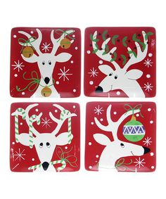 Take a look at this Silly Reindeer Dinner Plate - Set of Four by Certified International  sc 1 st  Pinterest : reindeer silhouette dinnerware - pezcame.com