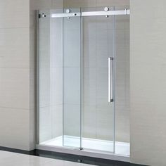 "Miseno MSDC6082 82-1/4"" High x 60"" Wide Frameless Shower Door for Alcove Install Chrome / Clear Showers Shower Doors Sliding"