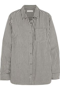 Étoile Isabel Marant | Waida oversized striped cotton shirt in charcoal and light-gray