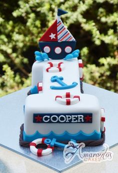 Number one with Sail Boat - AC80 - Amarantos Cakes - Nautical Number One Cake
