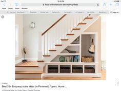 Impressive-Under-Stair-Storage-vogue-Other-Metro-Beach-Style-Staircase-Remodelin. Impressive-Under-Stair-Storage-vogue-Other-Metro-Beach-Style-Staircase-Remodeling-ideas-with-baskets-clever-use-of-space-newel-post-staircase-storage-. Stair Shelves, Staircase Storage, Entryway Storage, Storage Under Stairs, Open Shelves, Basement Storage, Entryway Ideas, Wall Storage, Staircase Bookshelf