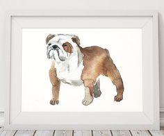 Dog watercolor Bulldog print Cute nursery art by DeerAndBadgers