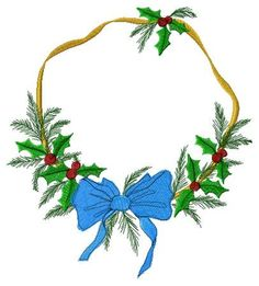 Holly wreath Embroidery Design by JEmbroiderynApplique on Etsy, $6.00