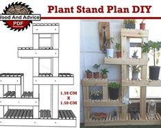 Display stand plan/corner shelf plan/wood shelf plan/corner   Etsy Garden Box Plans, Planter Box Plans, Planter Boxes, Tall Plant Stands, Wood Plant Stand, Tall Plants, Indoor Plants, Wall Mounted Shoe Storage, Plant Ladder