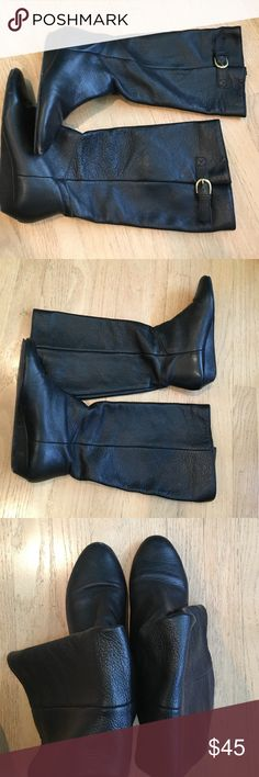 Steve Madden black tall boots Tall Steve Madden black boots with gold buckle on the outside. Small wedge heel. Leather Steven by Steve Madden Shoes Heeled Boots