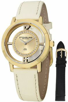 Stuhrling Original Women's 388L2.SET.02 Winchester Tiara 23 Yellow Gold-Plated Stainless Steel and Swarovski Crystal Watch with Additional L...