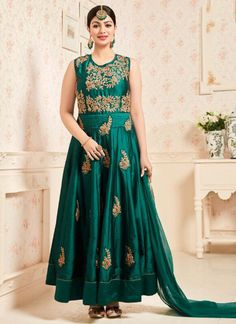 Tapeta Holi Special Silk Volono Green Party Wear Embroidered Work Anarkali Suit