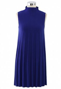 Polo Neck Pleated Dress in Navy Blue