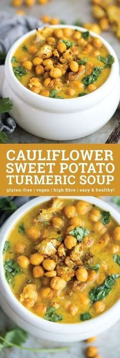 This Cauliflower Sweet Potato Turmeric Soup is simple healthy and incredibly flavourful. Blend half of it for a chunky soup or blend it all for a delicious creamy soup. Top with optional roasted chickpeas and if desired roasted curried cauliflower. Cauliflower Curry, Cauliflower Recipes, Creamy Cauliflower, Healthy Recipes, Cooking Recipes, Free Recipes, Cooking Food, Vegan Bean Recipes, Veggie Soup Recipes