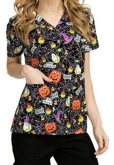 med couture anna boo crew v neck print scrub top main image - Halloween Scrubs Uniforms