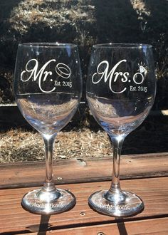 Mr. Mrs. Wine Glass Wine Glass Etched by EtchedExpressions on Etsy