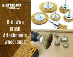 3 pk 4 inch Wire Brush Drill Wheel Attachment 1//4 in Shank Brass-Coated Wire