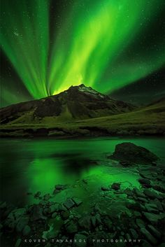 Man's heart away from nature becomes hard. ~Standing Bear | Northern Lights by Koveh Tavakkol