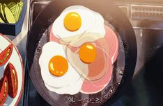 Only anime could make something as basic as eggs look so enchanting. 21 Photos That Prove Anime Food Looks Better Than Real Food Anime Bento, Aesthetic Food, Aesthetic Anime, Anim Gif, Animated Gif, Casa Anime, Gifs, Japon Illustration, Think Food