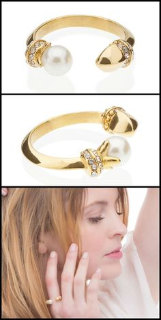 The A Little More Conversation Ring by Benique – a wonderfully unique piece in 14k gold plate.