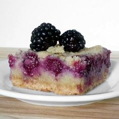 Blackberry Pie Bars. I used strawberries as those are in season and inexpensive right now. These pie bars were very sweet! My only complaint is that the bottom crust was very hard the next day. Maybe warming this in the microwave first would help, but I didn't try that since I don't own a microwave. -AMR