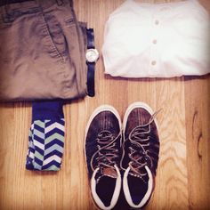 A get-up fit for a cooler spring Saturday. Henley by Pistol Lake. Chinos by Frank & Oak. Socks by Express. Leather sneakers by Billy Reid for K-Swiss. Watch by Timex & Horween leather watch strap by Form-Function-Form.
