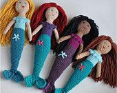Custom Doll, Mermaid Crocheted Toy, Christmas In July, Made To Order, Choice of Colors