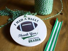 12 FOOTBALL GIFT TAGS - party favor - custom text - 3 inch circle - Twinery Baker's Twine