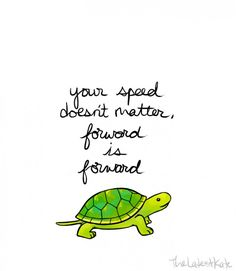 "Turtle with ""your speed doesn't matter, forward is forward"""