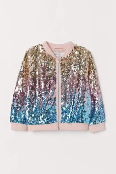 Bomber Jacket with Sequins - Pink/multicolored - Kids Girls Fashion Clothes, Teen Fashion Outfits, Celebrity Outfits, Look Fashion, Girl Fashion, Cute Girl Outfits, Kids Outfits, Cool Outfits, Holographic Fashion
