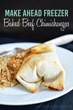Make Ahead Freezer Baked Beef Chimichangas - easy to make from www.thirtyhandmadedays.com