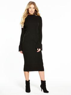 V by Very Flared Cuff Rib Midi Knitted Dress | littlewoodsireland.ie