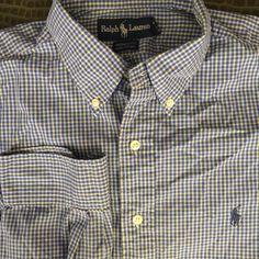 Men Ralph Lauren Yarmouth Blue Yellow White Plaid 16 32/33 Large Shirt  #RalphLauren #ButtonFront  19.99