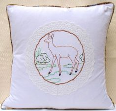 French Vintage Embroidered Deer Lace white Throw by Retrocollects