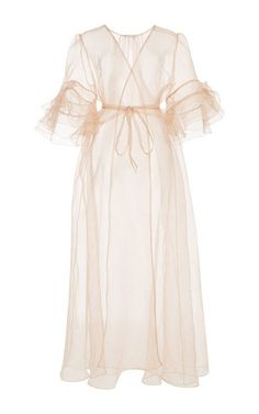 Silk Organza Ruffled Sleeve Kimono by Rosamosario for Preorder on Moda Operandi