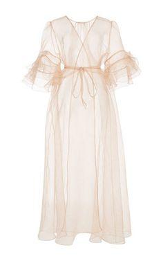 Silk Organza Ruffled Sleeve Kimono by Rosamosario for Preorder on Moda Operandi