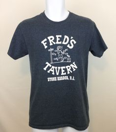 Fred's Tavern Stone Harbor NJ Graphic T Shirt Gray Cotton Blend Mens S   #FruitoftheLoom #GraphicTee