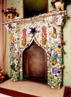 Is that Gumby embedded in the fireplace mosaic? mosaic fireplace from Bellamy Design