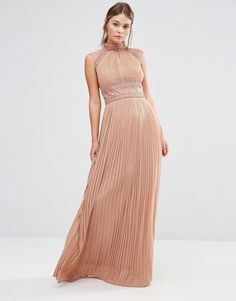 TFNC WEDDING Pleated Maxi Dress with Lace Detail $121.00