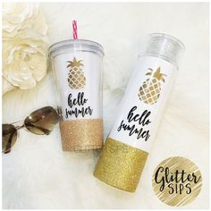 Hello Summer Metallic Gold Pineapple Glitter Dipped Water Bottle... ($23) ❤ liked on Polyvore featuring home, kitchen & dining, drink & barware, drinkware, home & living, water bottles & vacuum flasks, white, car cup holder and stroller cup holder