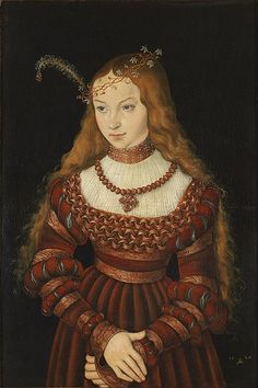 Sybille of Cleves Born: c. Sybille of Cleves by Lucas Cranach Schlossmuseum, Weimar. Older sister of Ann of Cleves, wife of Henry VIII. Costume Renaissance, Renaissance Mode, Renaissance Portraits, Renaissance Fashion, Tudor Fashion, Renaissance Paintings, German Fashion, Italian Renaissance, European Fashion