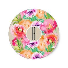 Modern Bright Floral Watercolor Kraft Chic Favor Classic Round Sticker - bridal gifts bride wedding marriage